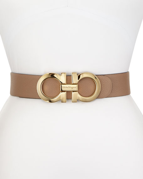 Salvatore Ferragamo Wide Reversible Logo Buckle Pebbled