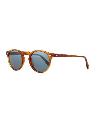 Gregory Peck Round Plastic Sunglasses, Blonde Tortoise
