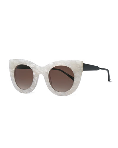 Cheeky Cat-Eye Sunglasses, Pearl