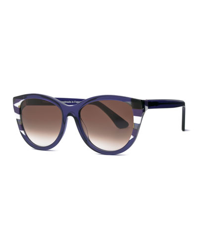 Flattery Modified Cat-Eye Sunglasses, Purple