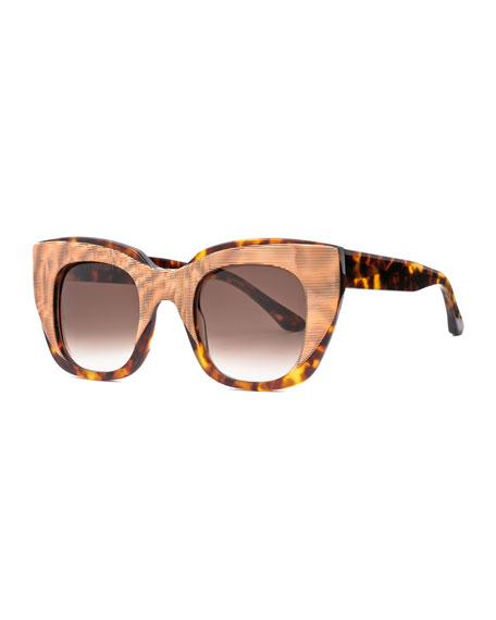 Thierry Lasry Intimacy Squared Cat-Eye Layered Sunglasses, Tortoise