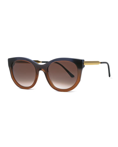 Lively Cat-Eye Sunglasses, Brown