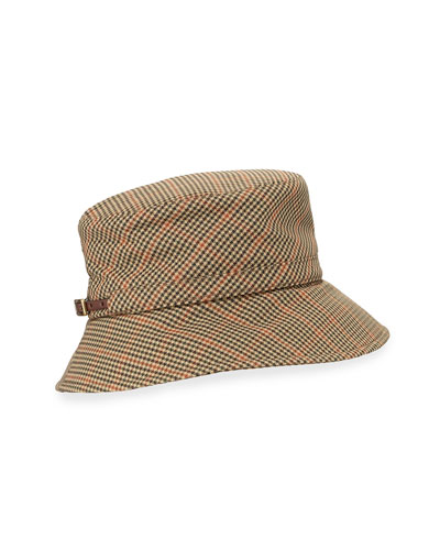 Check-Print Bucket-Style Rain Hat, Tan