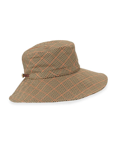 Floppy Check-Print Rain Hat, Tan