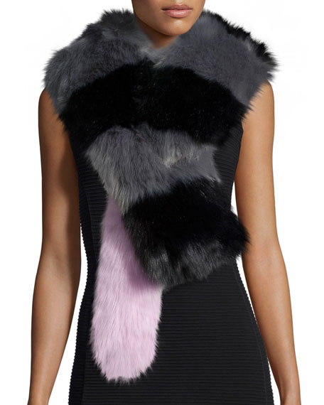 Big Daddy Faux-Fur Scarf, Gray/Black/Pink