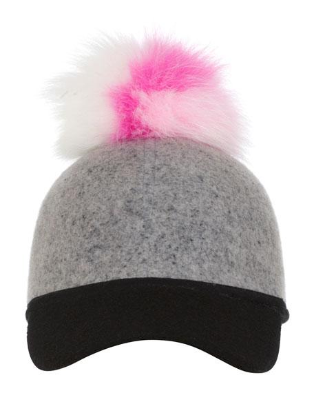 Sass Baseball Cap w/Tricolor Fur Pom-Pom, Pink/White