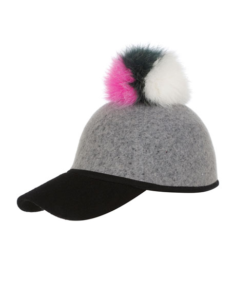 Sass Baseball Cap w/ Tricolor Fur Pom-Pom, Gray/Green/Pink/White