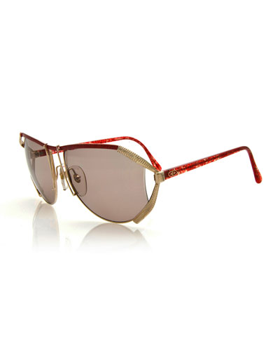 Vintage Brow-Bar Sunglasses, Gold/Red