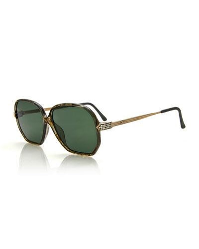 Vintage Oversized Speckled Sunglasses, Dark Green