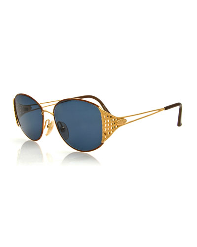 Vintage Sunglasses w/Woven Temple, Brown/Gold