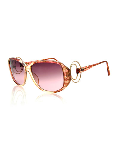 Vintage Sunglasses w/Wire Temples, Brown