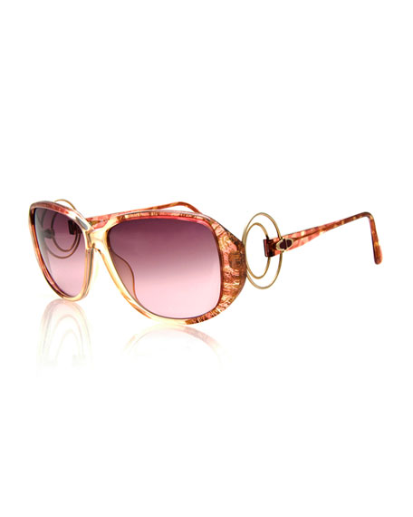 Christian Dior Vintage Sunglasses w/Wire Temples, Brown