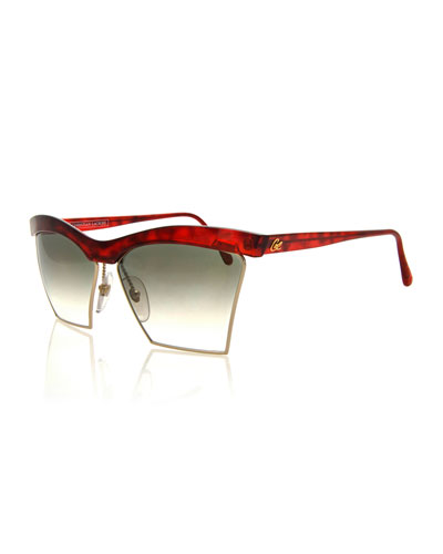 Vintage Dual-Rimmed Sunglasses, Red