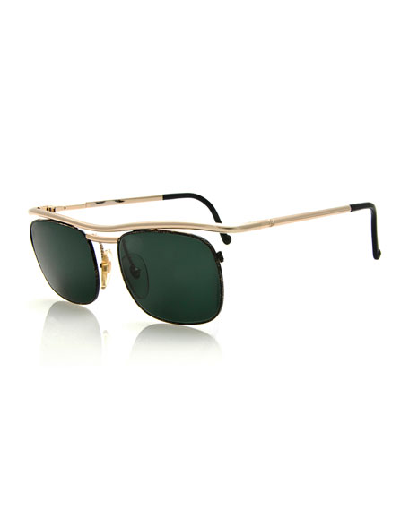 Christian Lacroix Vintage Brow-Bar Sunglasses, Gold