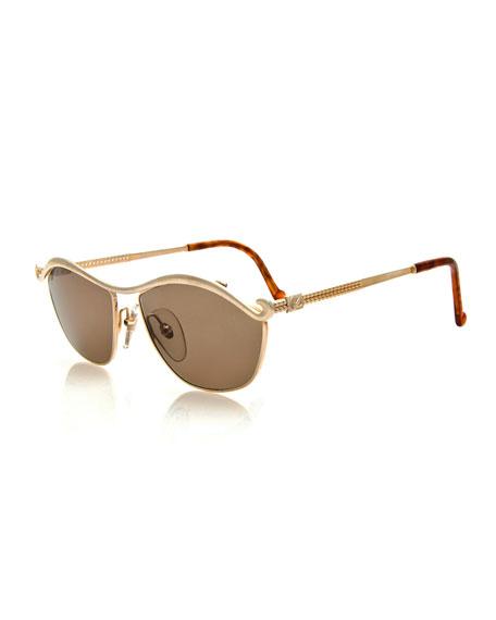 Christian Lacroix Vintage Curvy Brow-Bar Sunglasses, Gold