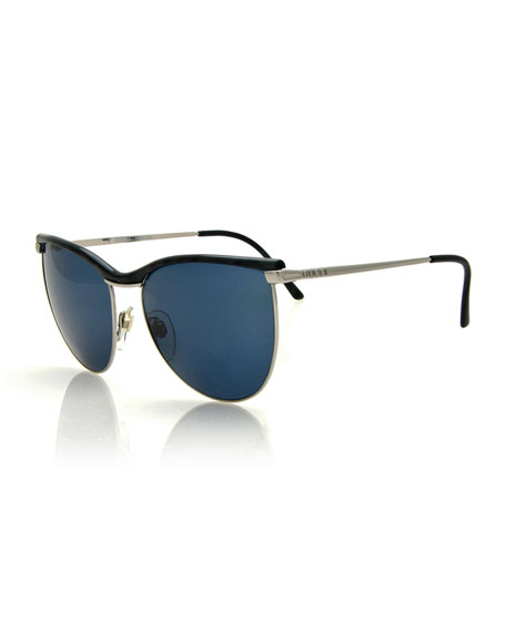 Gucci Vintage Butterfly Sunglasses, Black/Silver