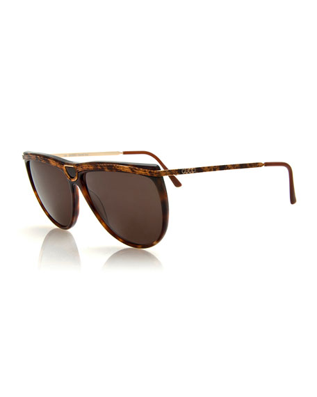 Gucci Vintage Sunglasses w/Center Detail, Tortoise