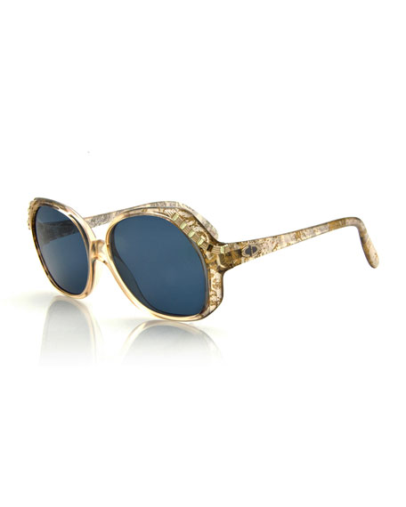 Christian Dior Vintage Oversized Crystal-Temple Sunglasses, Gold