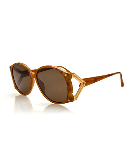 Christian Dior Vintage Marbled Sunglasses w/Metal Temple, Brown