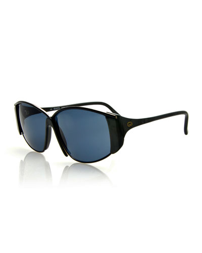 Vintage Oval Wrap Sunglasses, Black