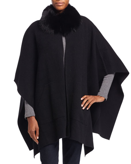 Fur Cashmere Trim Fur Cashmere Black Trim Poncho Fur Poncho Trim Black 7gfyvYb6