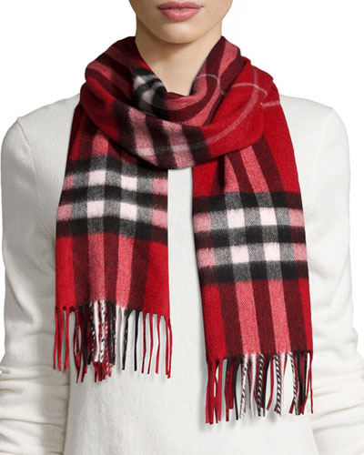 Cashmere Giant Check Scarf, Red