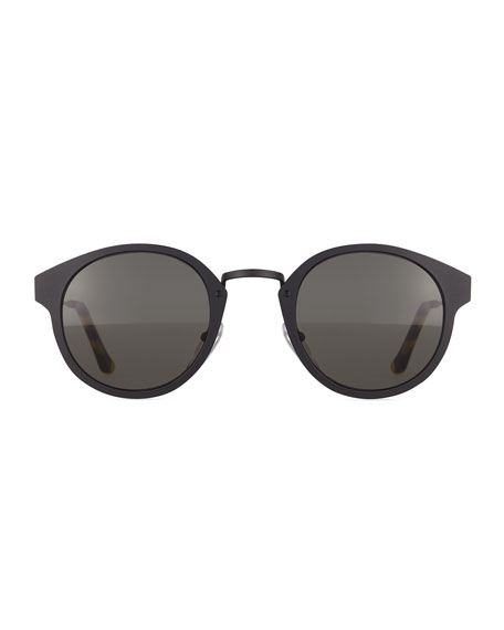 Panama Intellect Round Sunglasses, Black