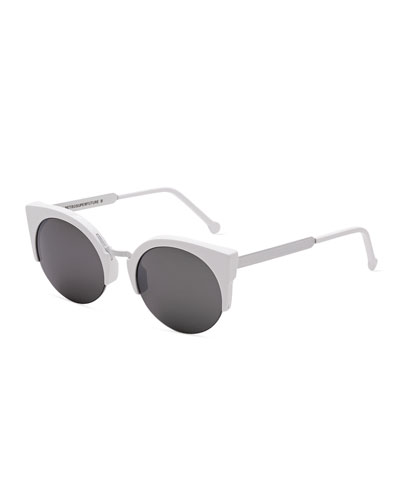 Lucia Francis Metric Cat-Eye Sunglasses, White