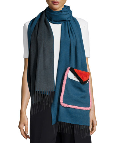 Bicolor Monster Scarf with Fur Pocket, Blue