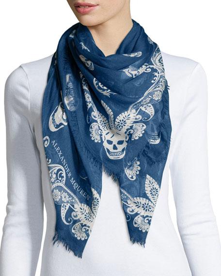 Alexander McQueen Paisley Multi-Skull Silk Scarf, Sapphire/Ivory