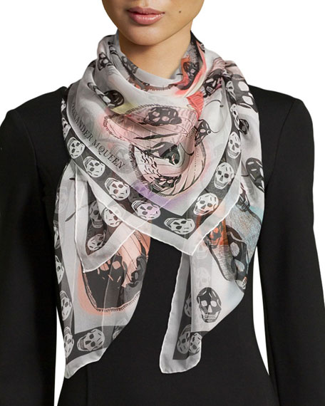 Alexander McQueen Skull On Butterfly Scarf, Ivory/Pink