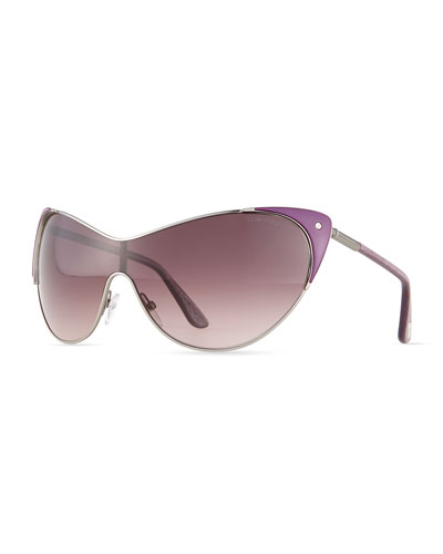 TOM FORD Vanda Shield Cat-Eye Sunglasses, Violet
