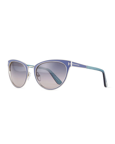TOM FORD Nina Two-Tone Cat-Eye Sunglasses, Shiny Palladium