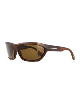 Square Acetate Sunglasses, Shiny Brown