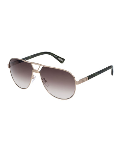 Aviator Metal Sunglasses, Bronze