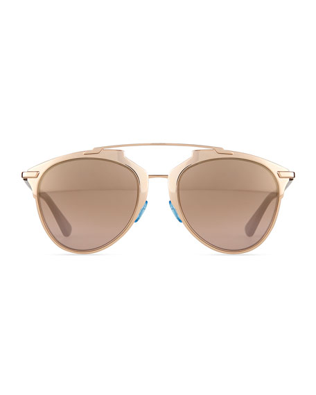 """Dior Reflected"" Peaked Aviator Sunglasses, Copper"