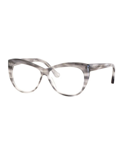 Clarence Cat-Eye Optical Frames, Gray Horn