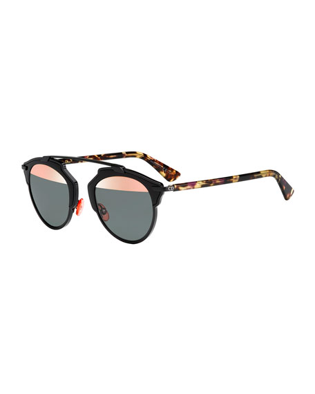 So Real Acetate Sunglasses, Black/Pink