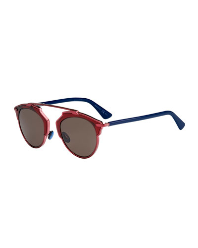 So Real Colorblock Sunglasses, Plum