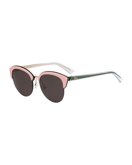 Dior Run Capped Cat-Eye Sunglasses, Black/Pink