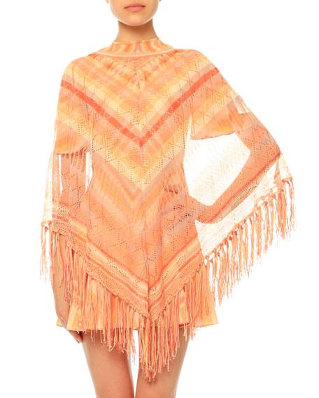 Valentino Crochet Mitered-Stripe Poncho, Sorbet Multi