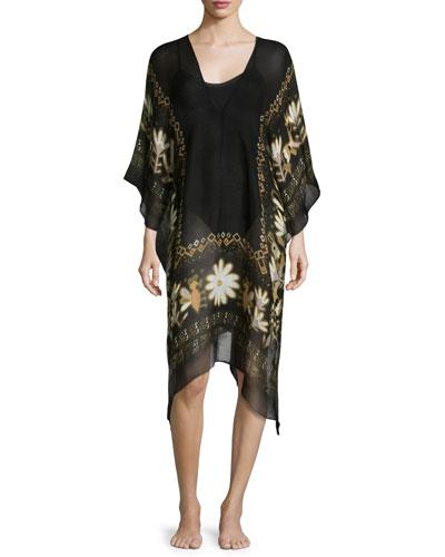 Sheer Caravan Floral-Trim Linen-Blend Caftan Coverup, Black