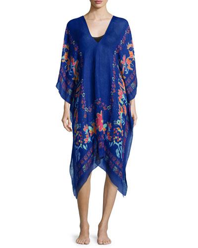 Caravan Floral-Trim Linen-Blend Caftan, Blue