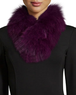 Fur Clip Scarf, Plum