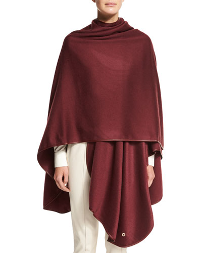 Regina Leather-Trim Cashmere Cape, Malbec
