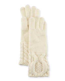 Cashmere Knit Cable-Cuff Gloves, Cream