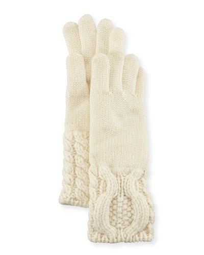 Cashmere Knit Cable-Cuff Gloves, Cream