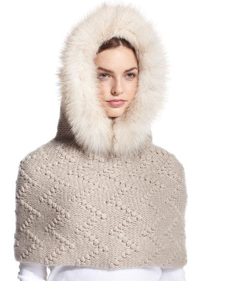 Il Borgo Fur-Trim Hooded Cashmere Snood, Beige