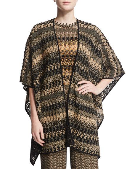 Missoni Bicolor Striped Lace Cape, Black/Beige