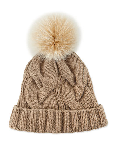 Cashmere Cable-Knit Beanie